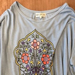 Blue thermal long sleeve Wildfox